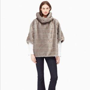 Kate Spade NY Women's M/L Gray Faux Mink Fur Cape